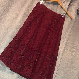 Forever 21 Burgundy Maxi Lace Skirt